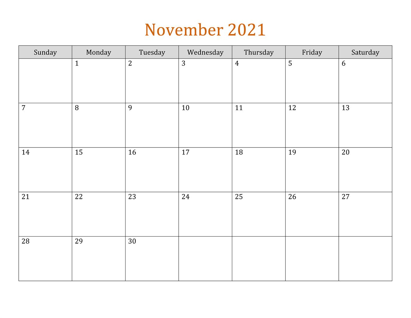 November 2021 Calendar With Holidays