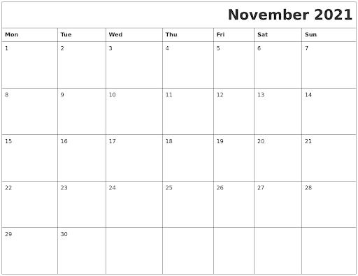 November 2021 Calendar With Jewish Holidays