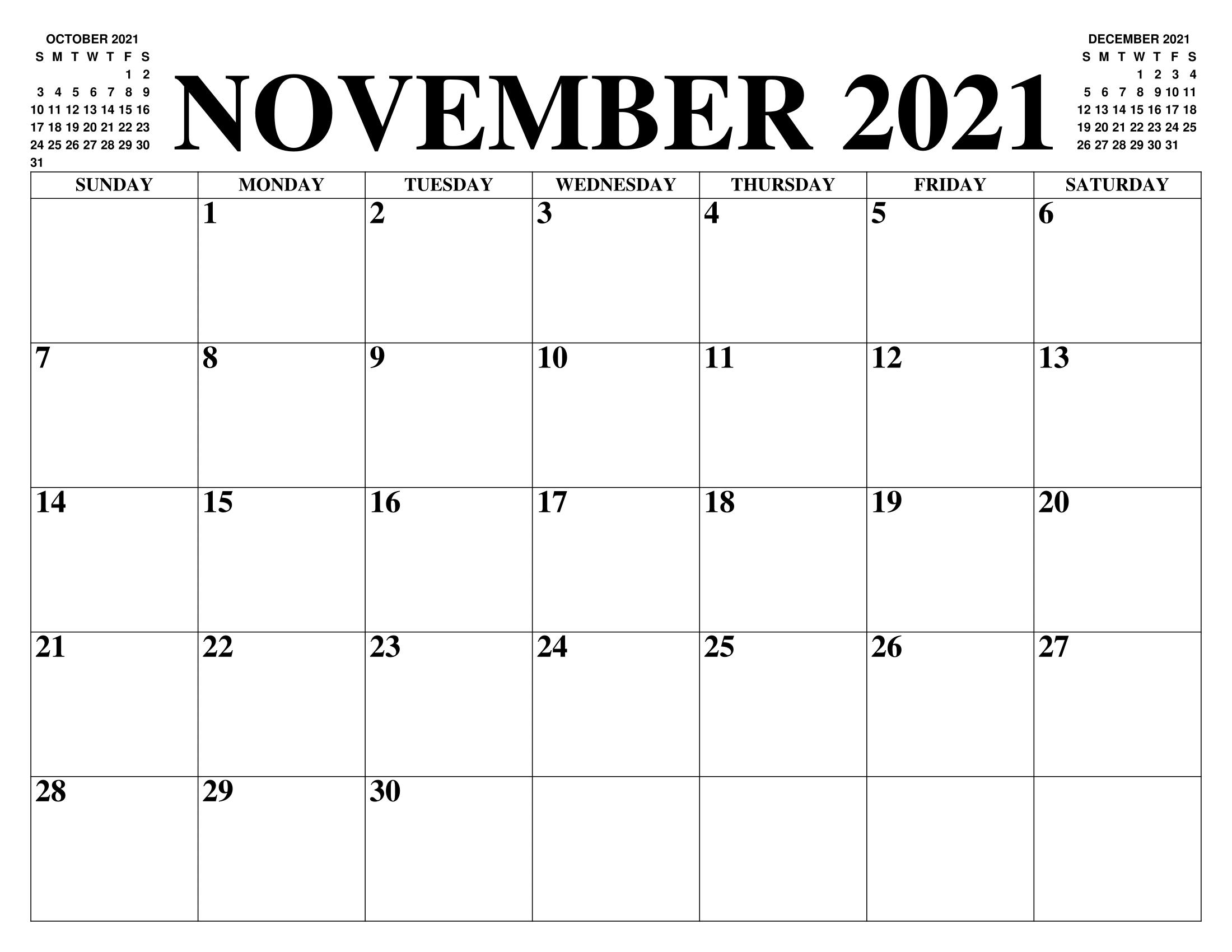 November 2021 Calendar With Summer Holidays