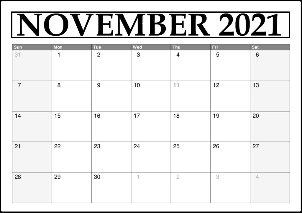 November 2021 Printable Calendar Countdown