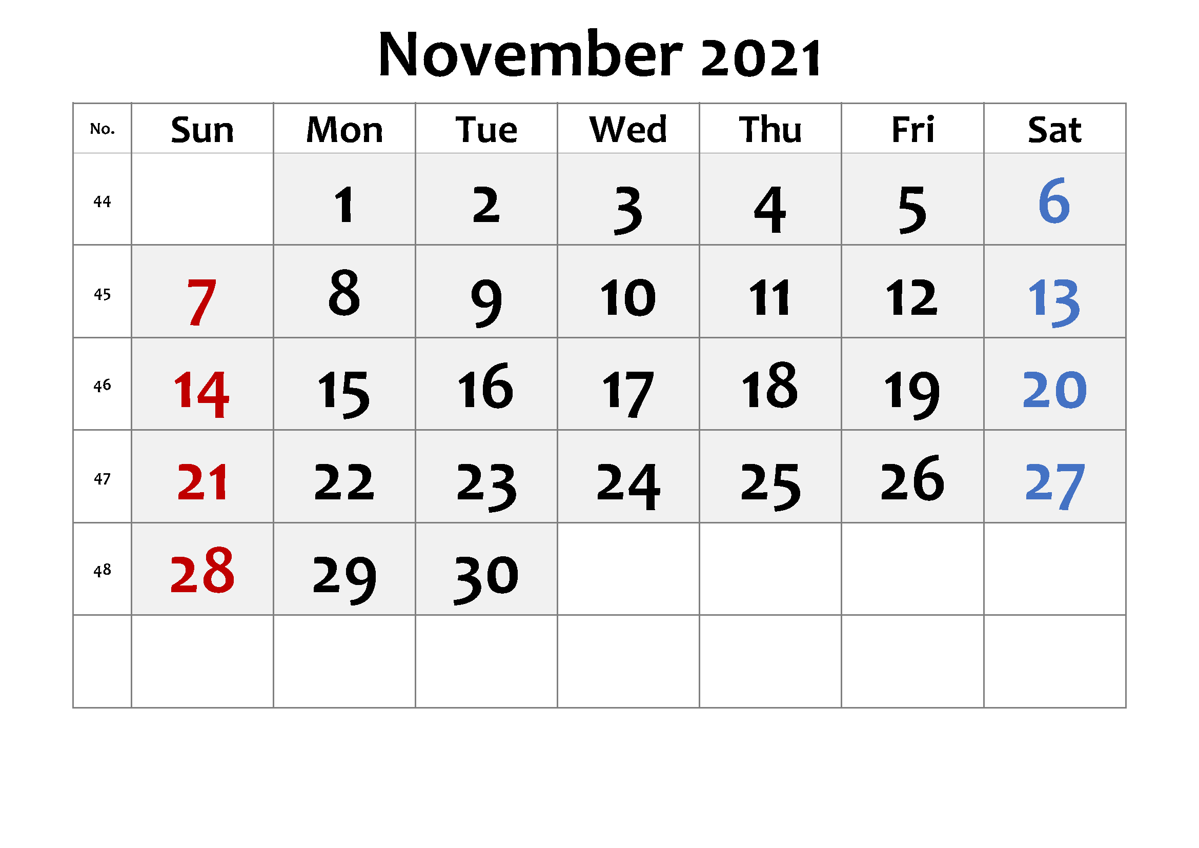 November 2021 Printable Calendar For Kids Students 1