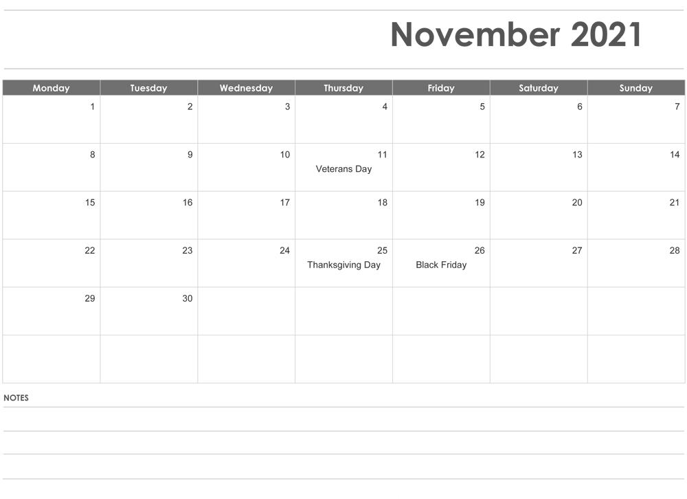 November 2021 Printable Calendar Free