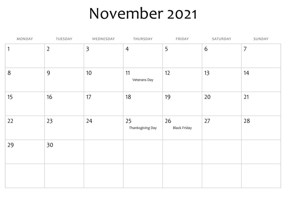 November 2021 Printable Calendar Kids Friendly