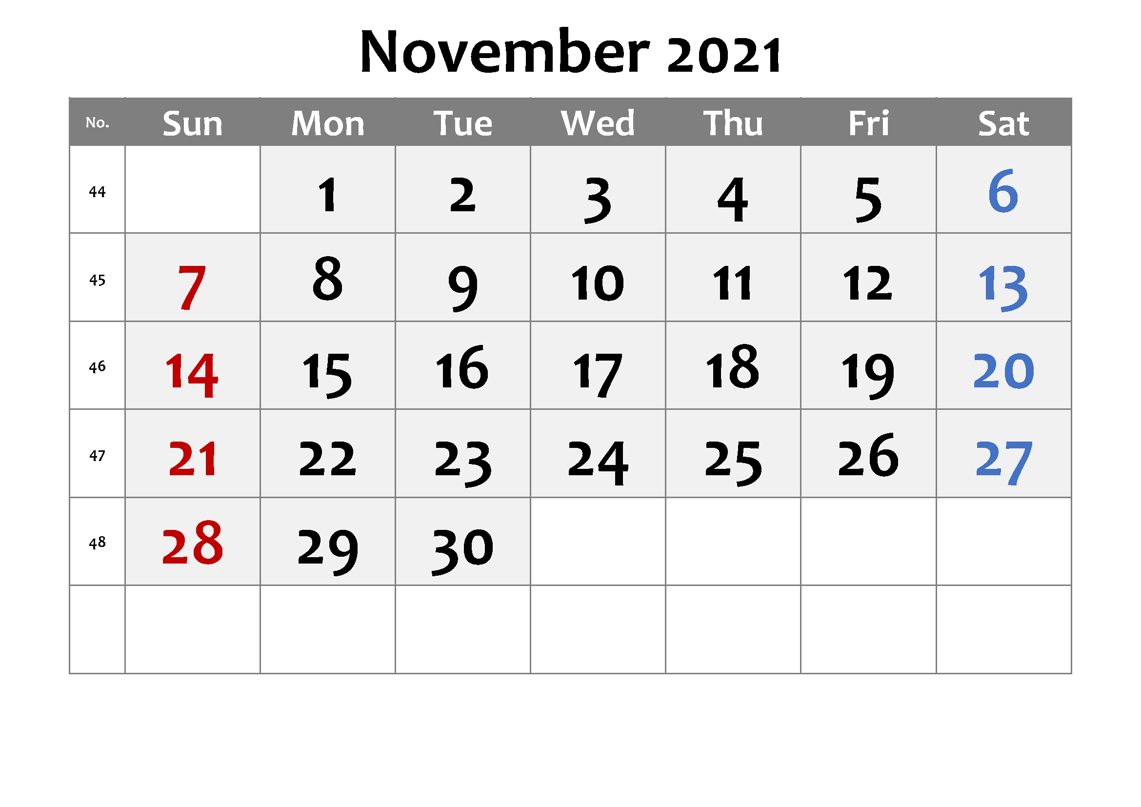 November Calendar 2021 Thanksgiving