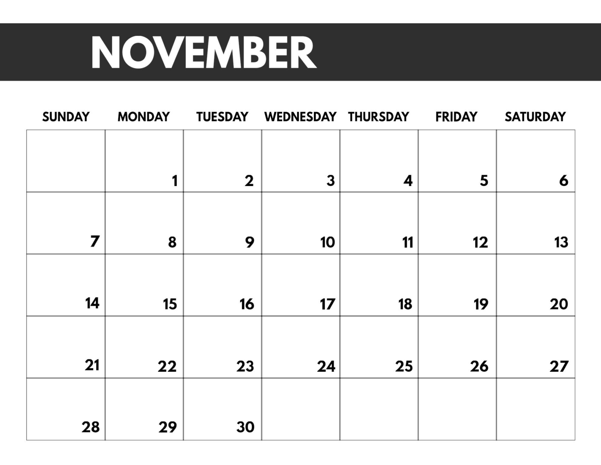 November Calendar 2021 With Holidays India
