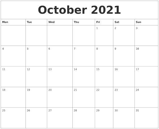 October 2021 Blank Calendar For Printing