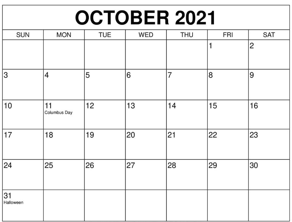 October 2021 Blank Calendar Large Square