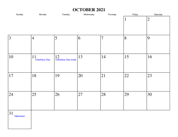 October 2021 Blank Calendar Template Without Number