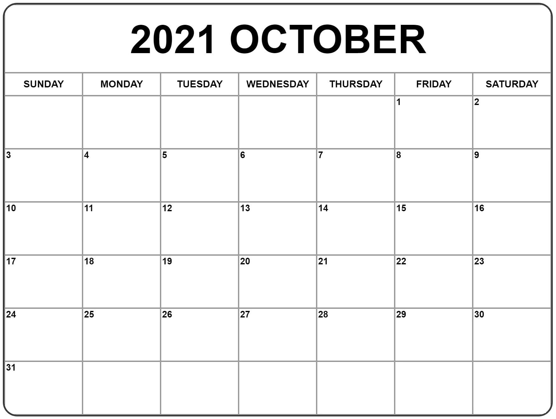 October 2021 Blank Calendar Printable Wiki