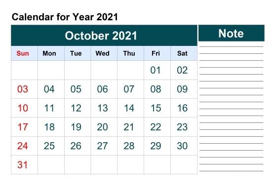 October 2021 Calendar Blank Month Printable Template