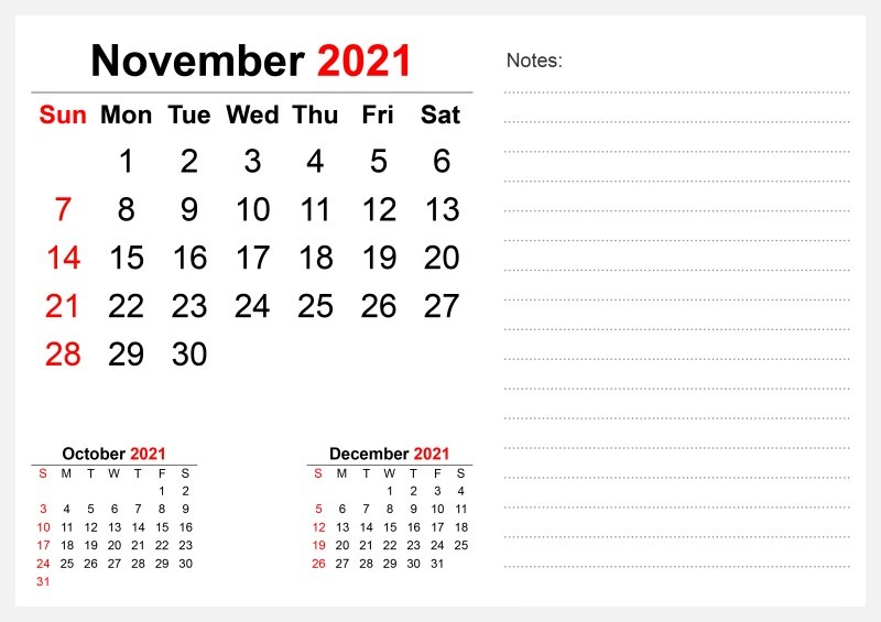 October 2021 Calendar Blank Poster Pages