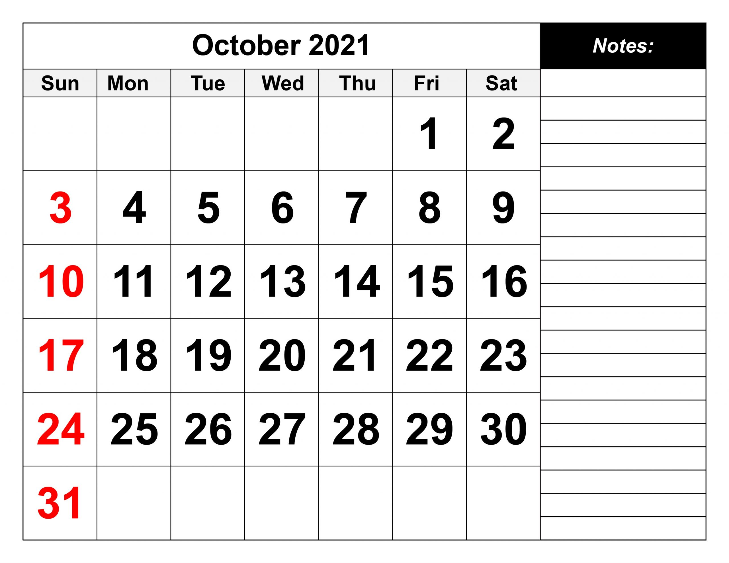 October 2021 Calendar Blank With Notes
