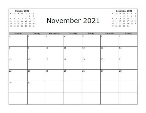 October 2021 Calendar Printable Blank Month