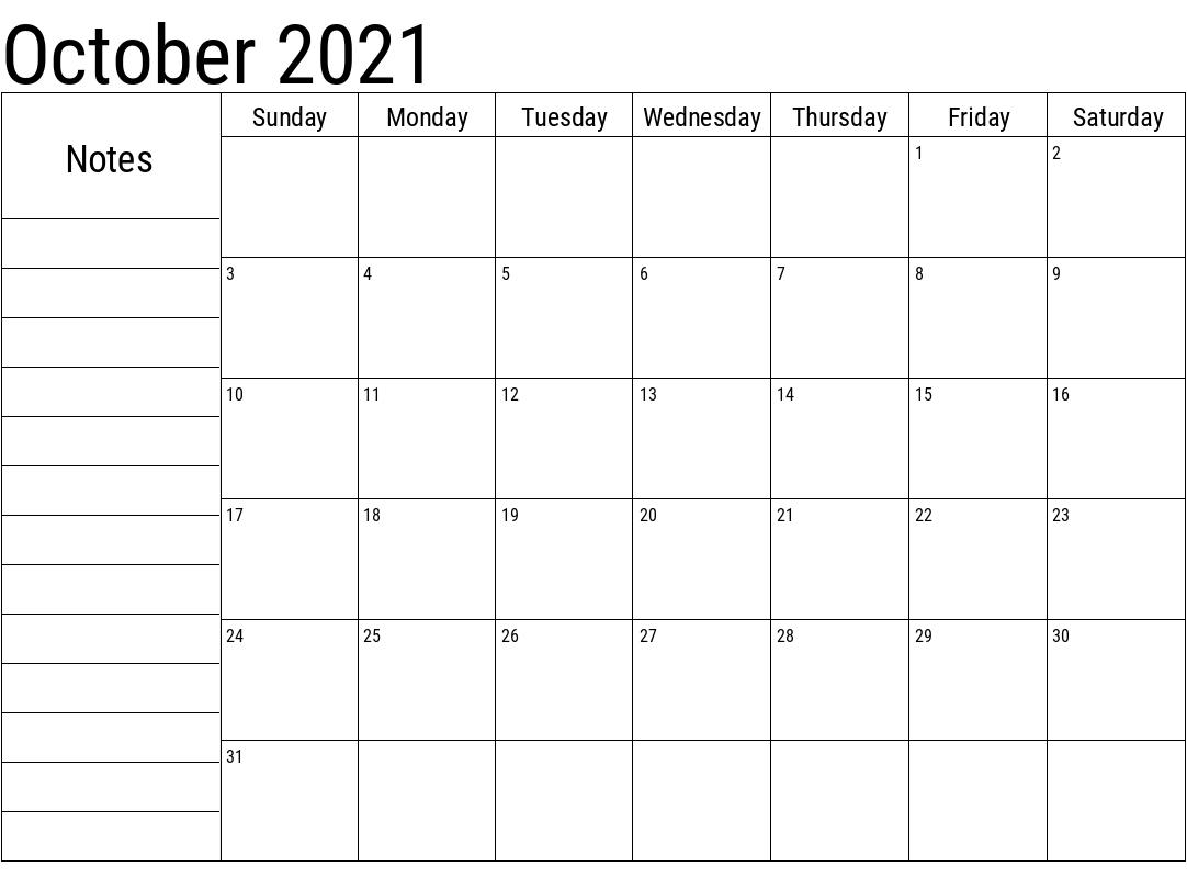 October 2021 Calendar Printable Cute Customizable
