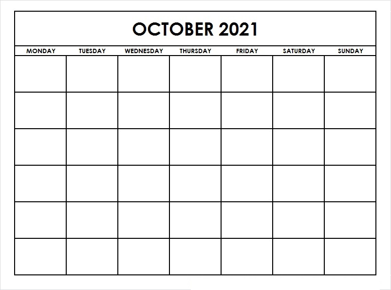 October 2021 Calendar Printable Google Generator