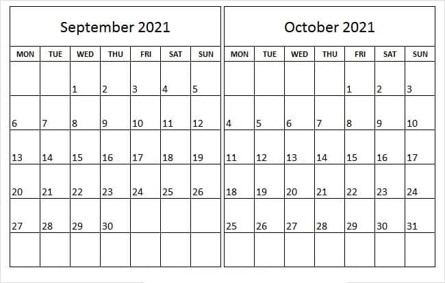 October 2021 Calendar Printable Half Page Printable