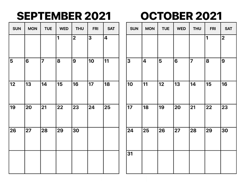 October 2021 Calendar Template Canva Design