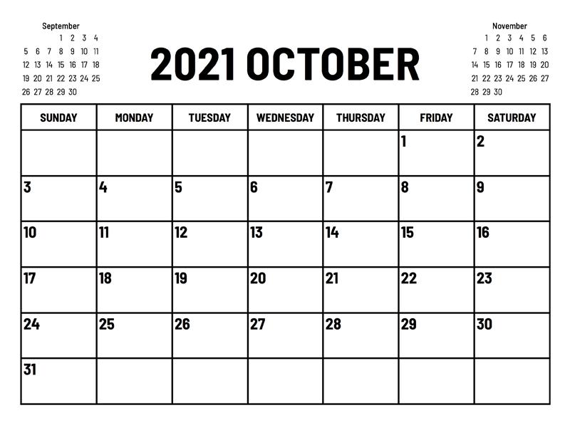 October 2021 Calendar Template Illustrator Indesign