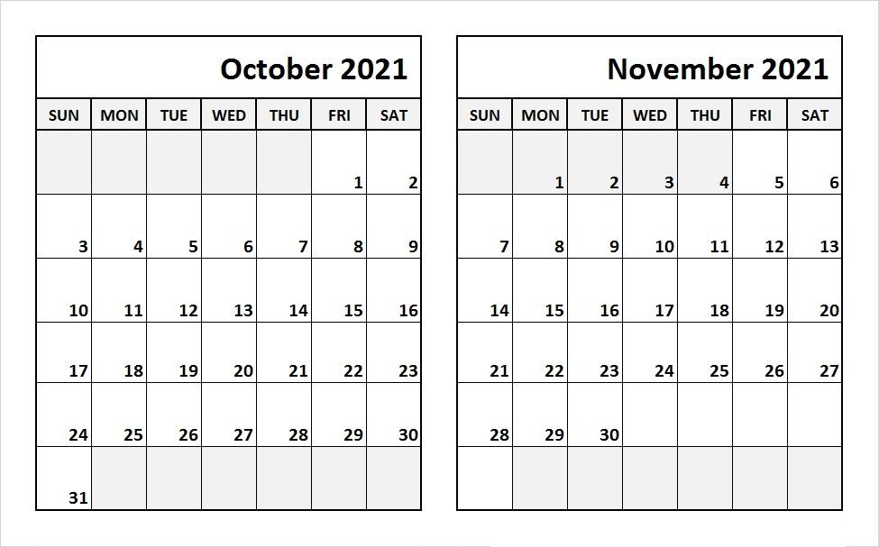 October 2021 Calendar Template Microsoft Word