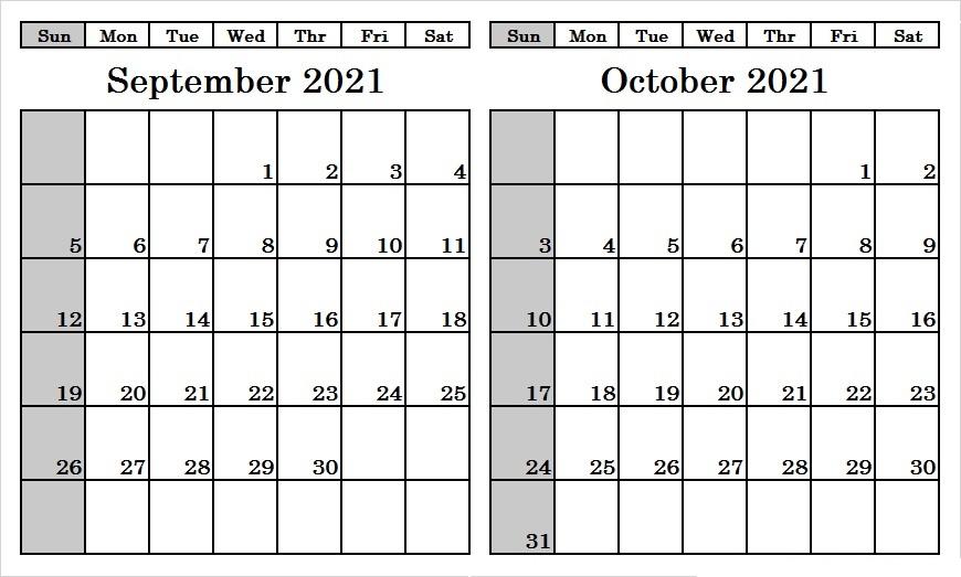 October 2021 Calendar Template Monthly Javascript