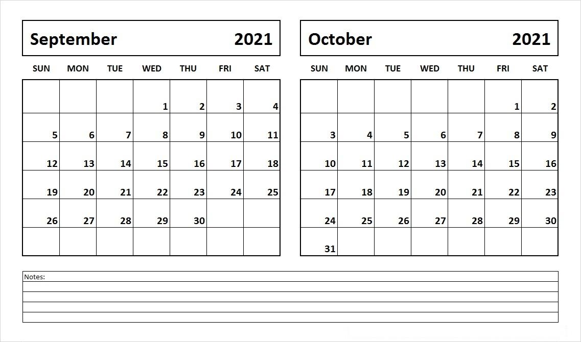 October 2021 Calendar Template for Onenote Website