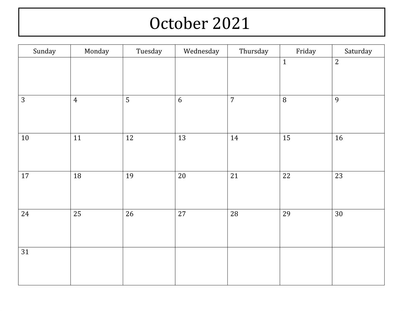October 2021 Calendar With Festival