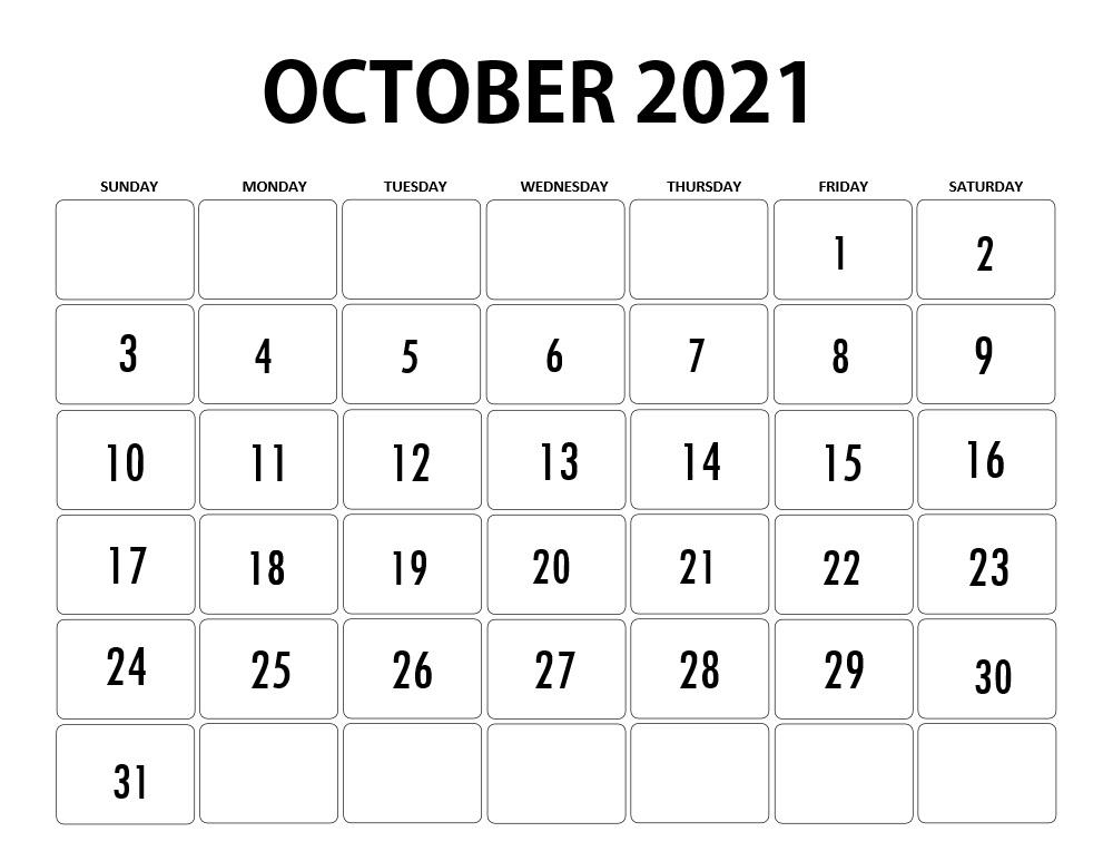 October 2021 Calendar With USA Holidays