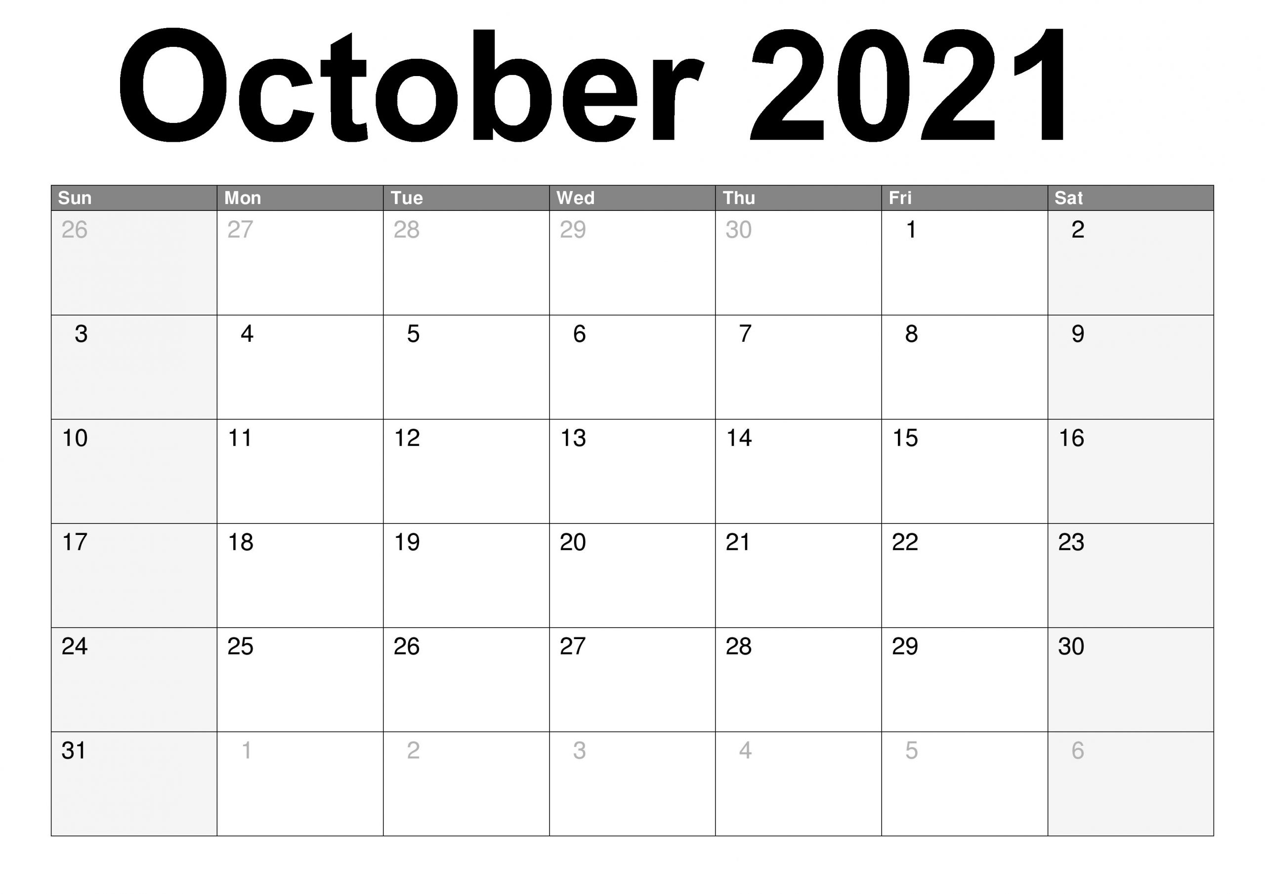 October 2021 Printable Calendar Cute Coloring Pages