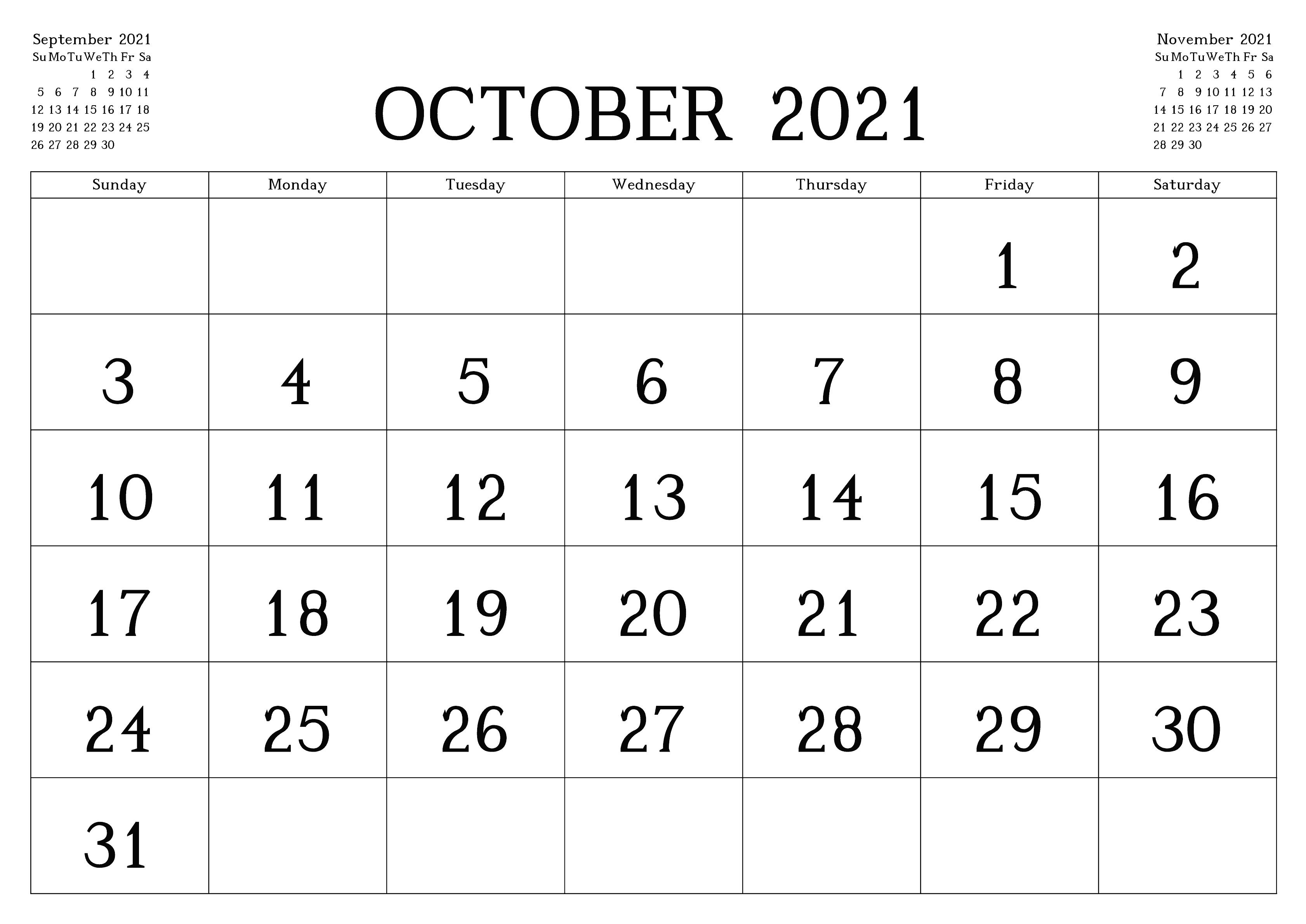 October 2021 Printable Calendar For Students Planner