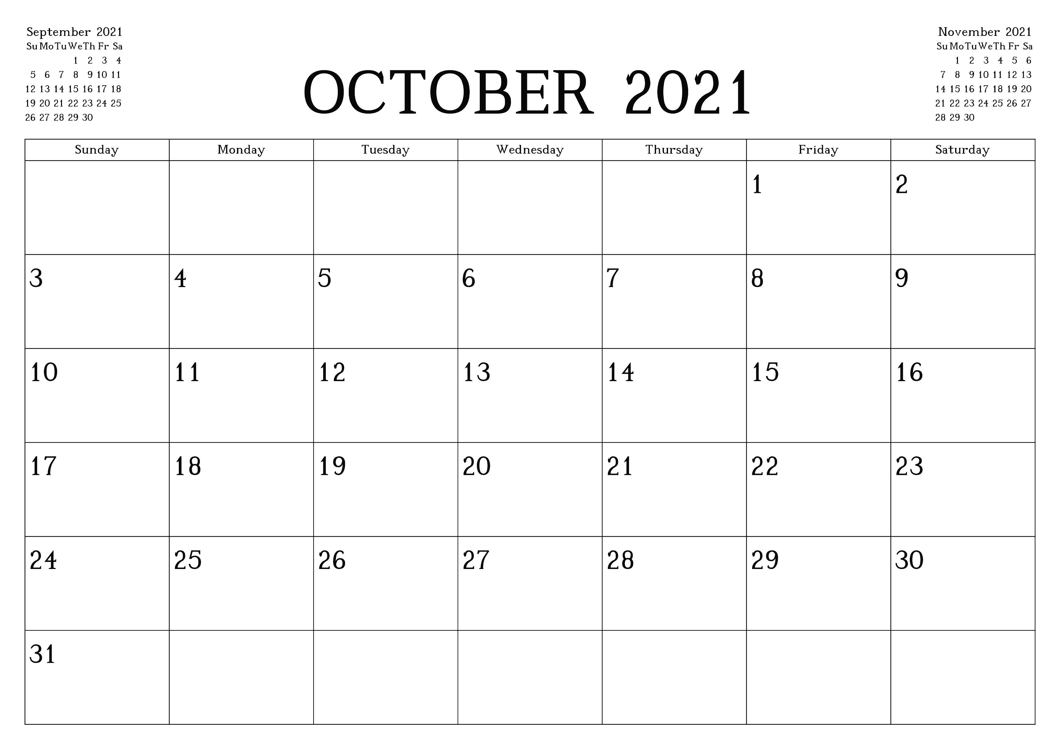 October 2021 Printable Calendar Google Sheets Generator