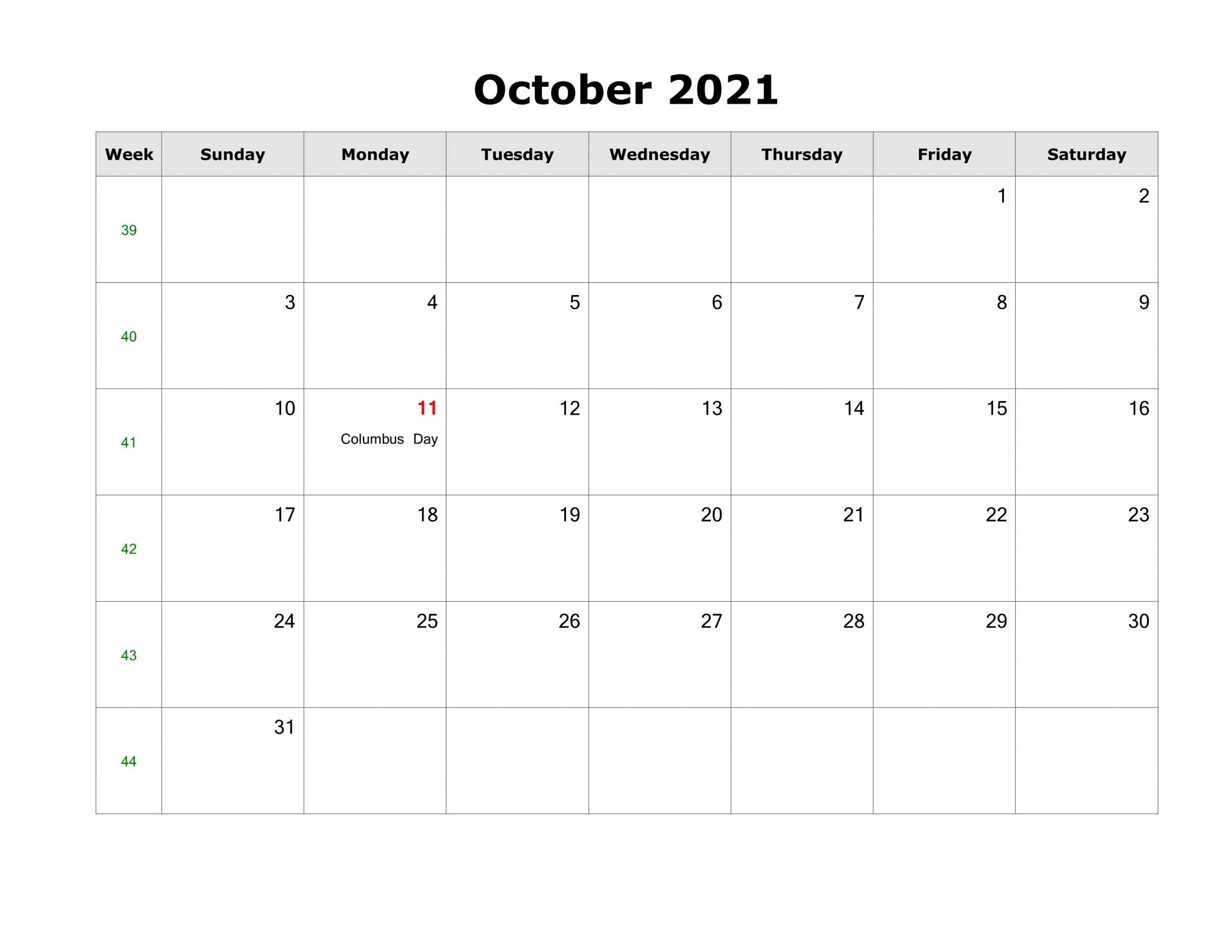 October 2021 Printable Calendar Specific Dates