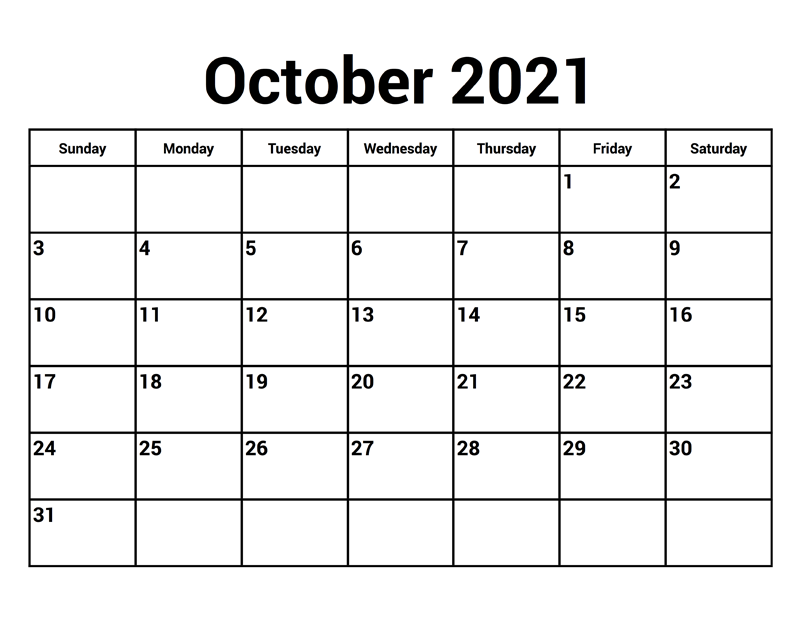 October 2021 Printable Calendar Two Month Per Page