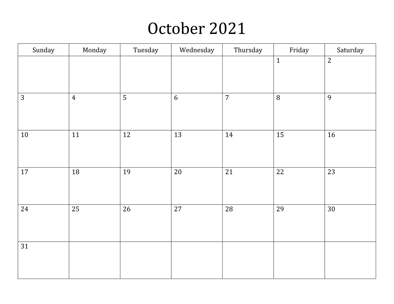 October 2021 Printable Calendar Verticle View With Lines