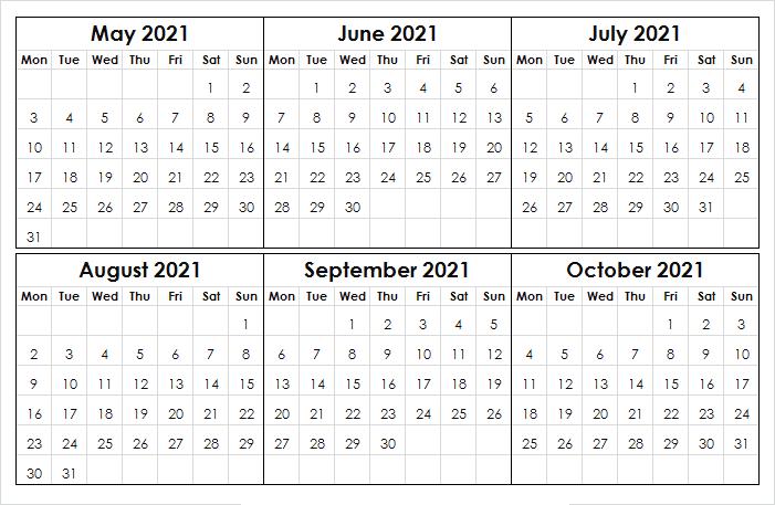 October Calendar 2021 Canada