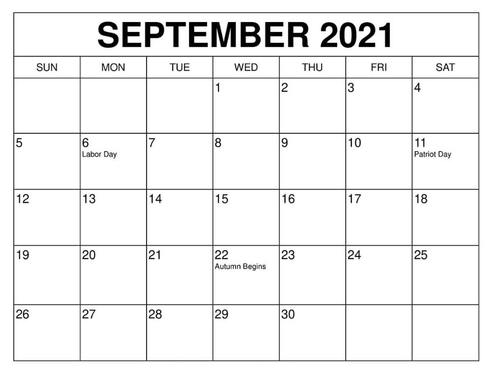 September 2021 Blank Calendar Boxes