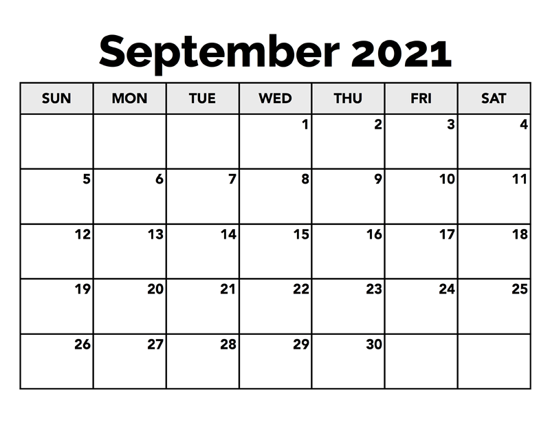 September 2021 Blank Calendar By Month
