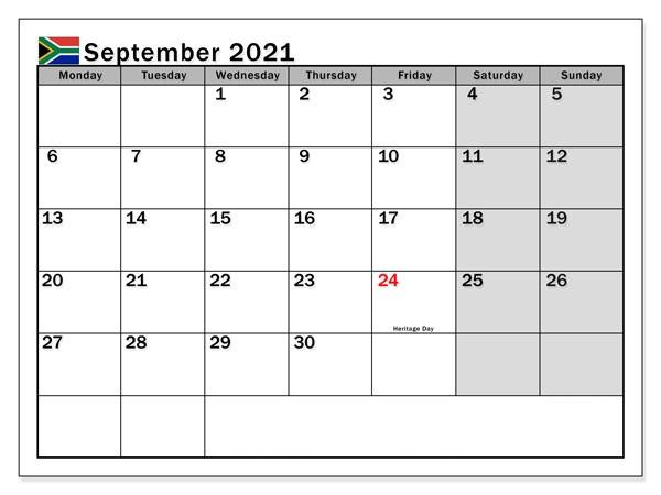 September 2021 Blank Calendar Clipart