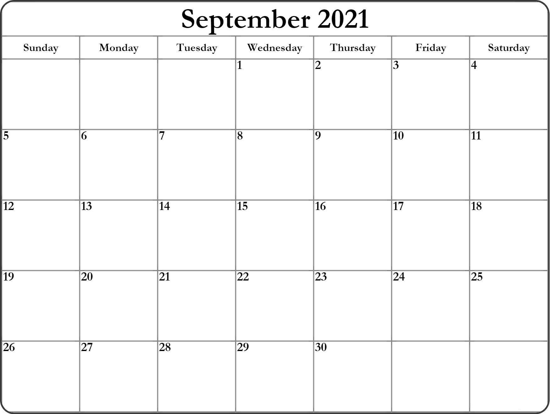September 2021 Blank Calendar Google Docs