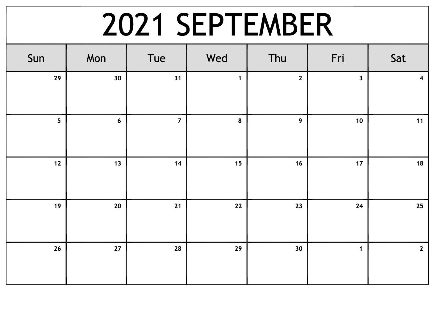 September 2021 Blank Calendar Grid Printable