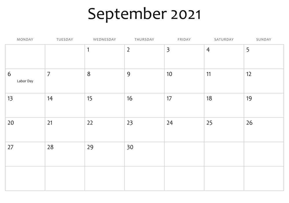 September 2021 Calendar Festival