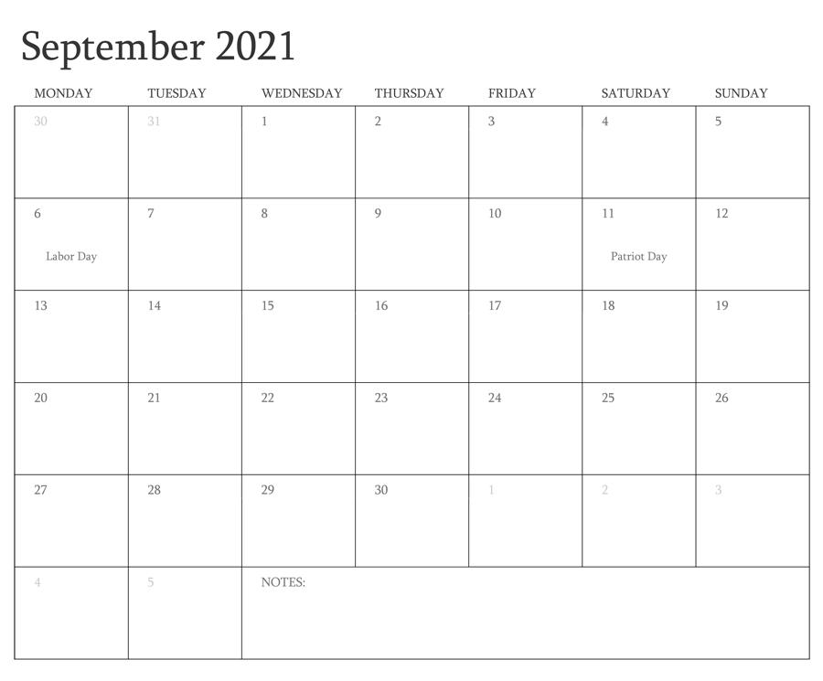 September 2021 Calendar Malayalam