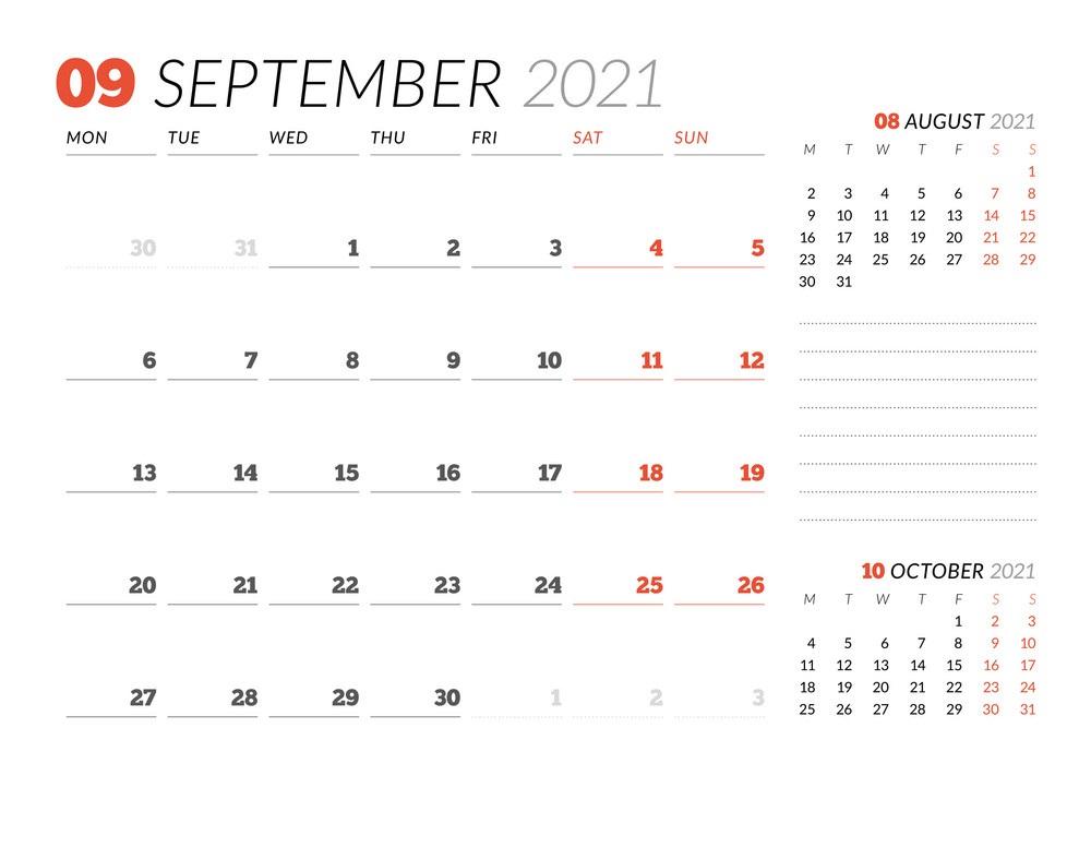 September 2021 Calendar Printable Editable