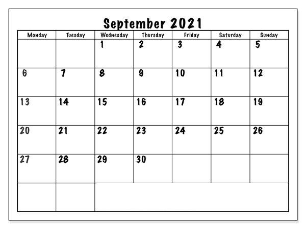 September 2021 Calendar Printable Generator