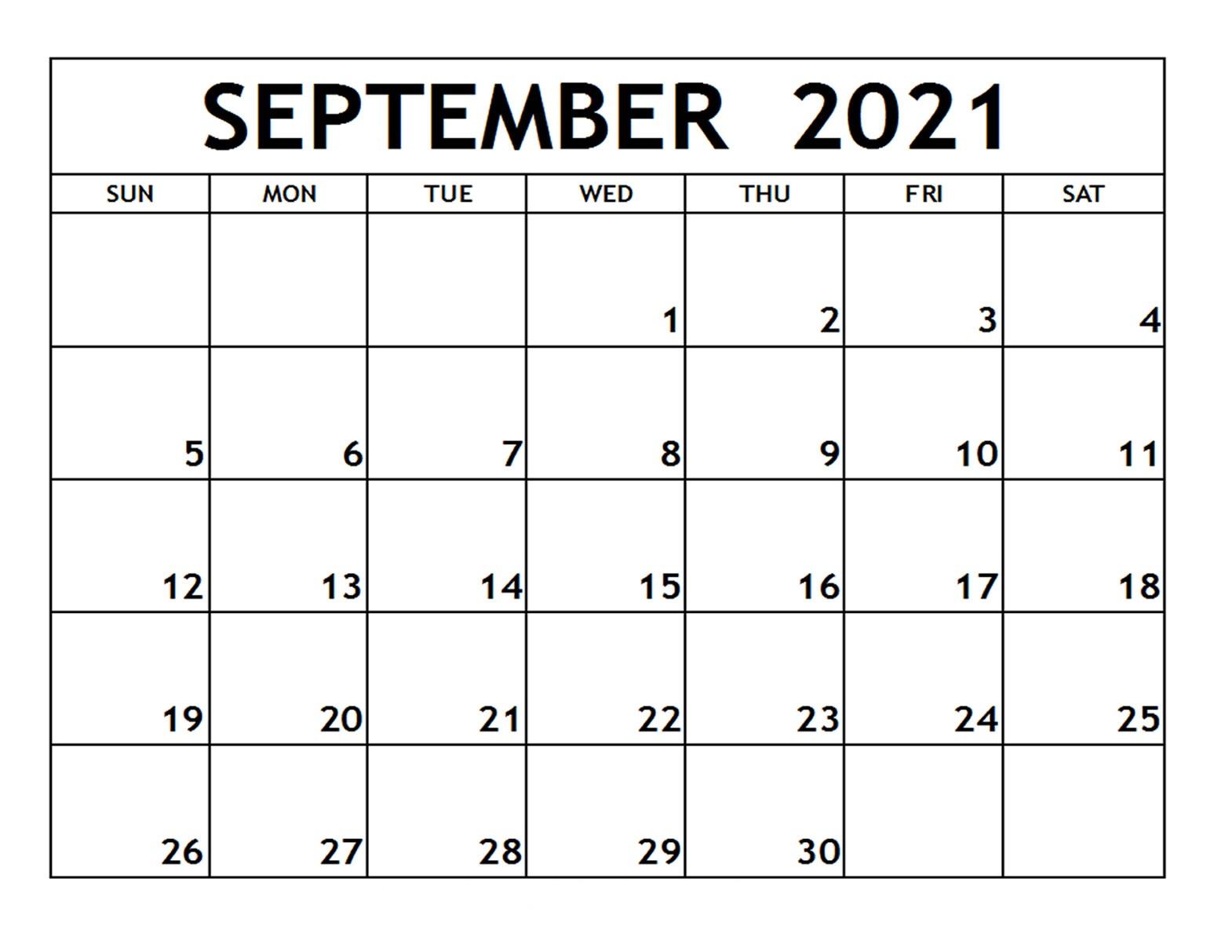 September 2021 Calendar Printable Kindergarten