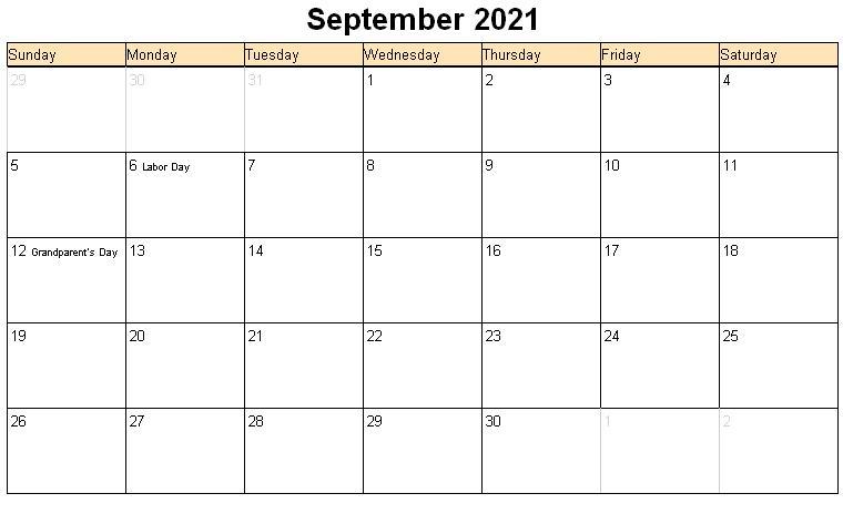 September 2021 Calendar Printable Landscape