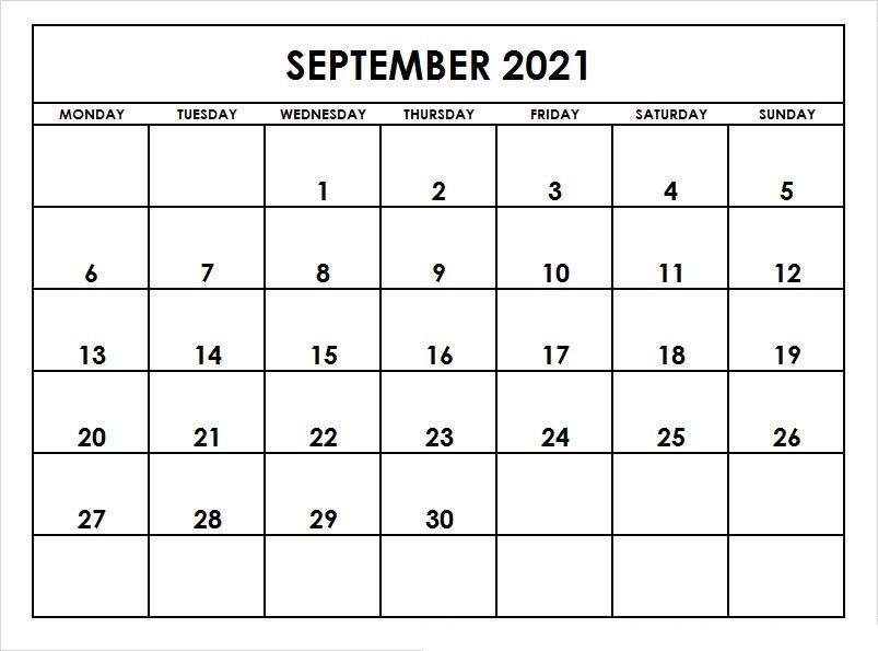 September 2021 Calendar Template Editable