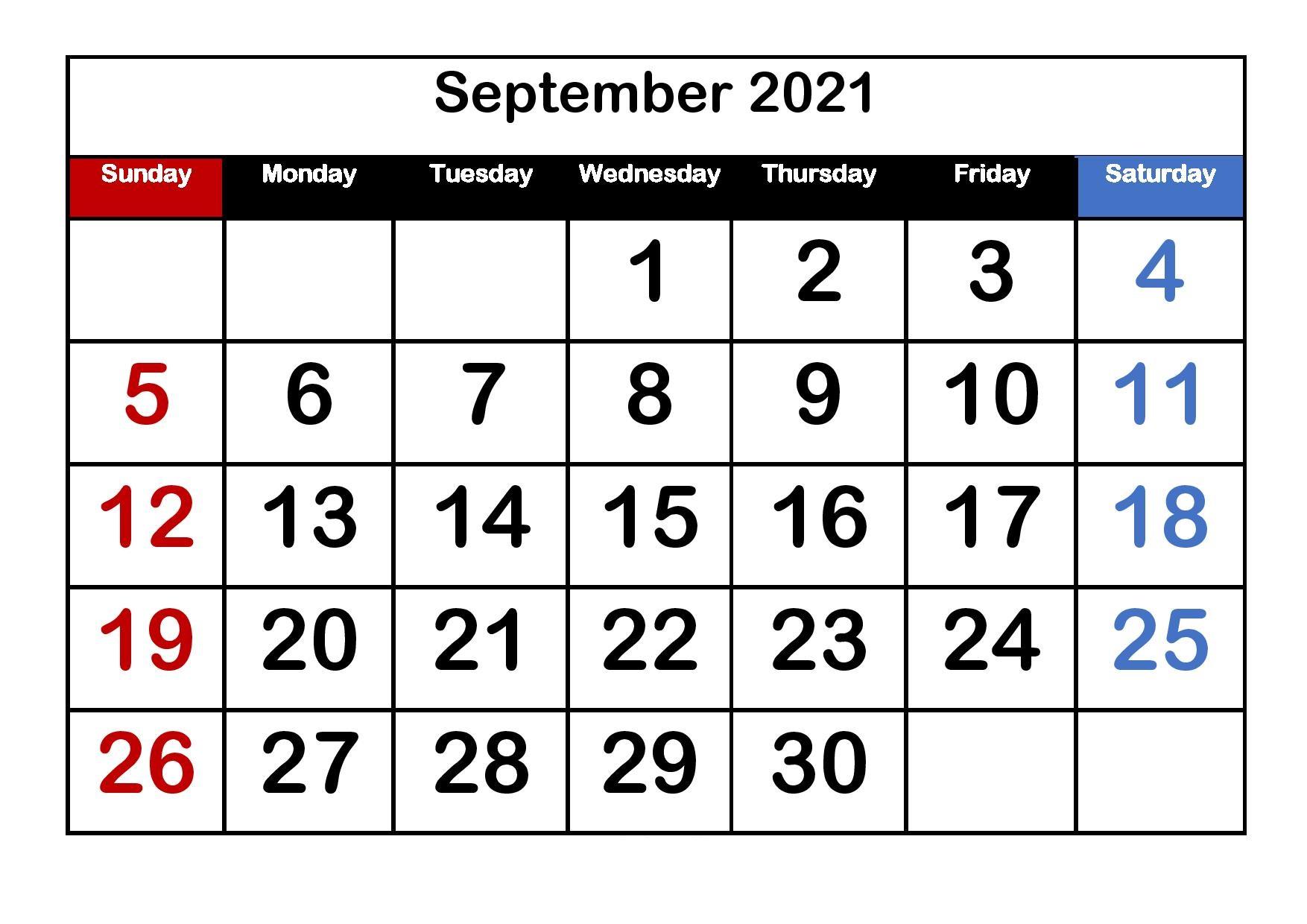 September 2021 Printable Calendar Large Print