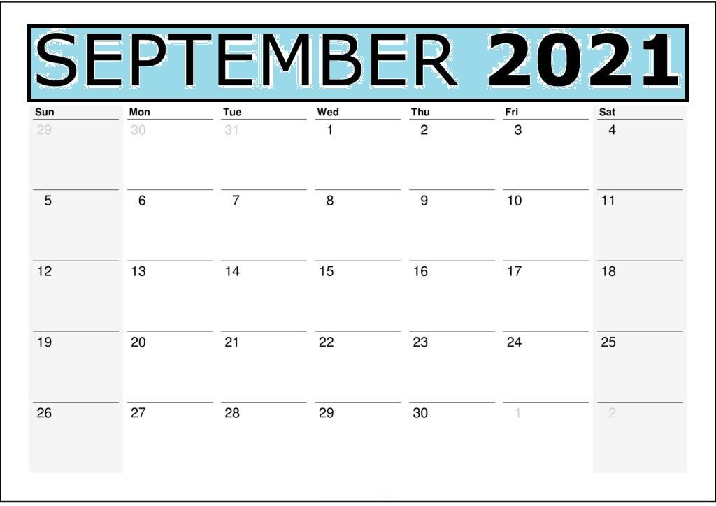 September 2021 Printable Calendar Monthly