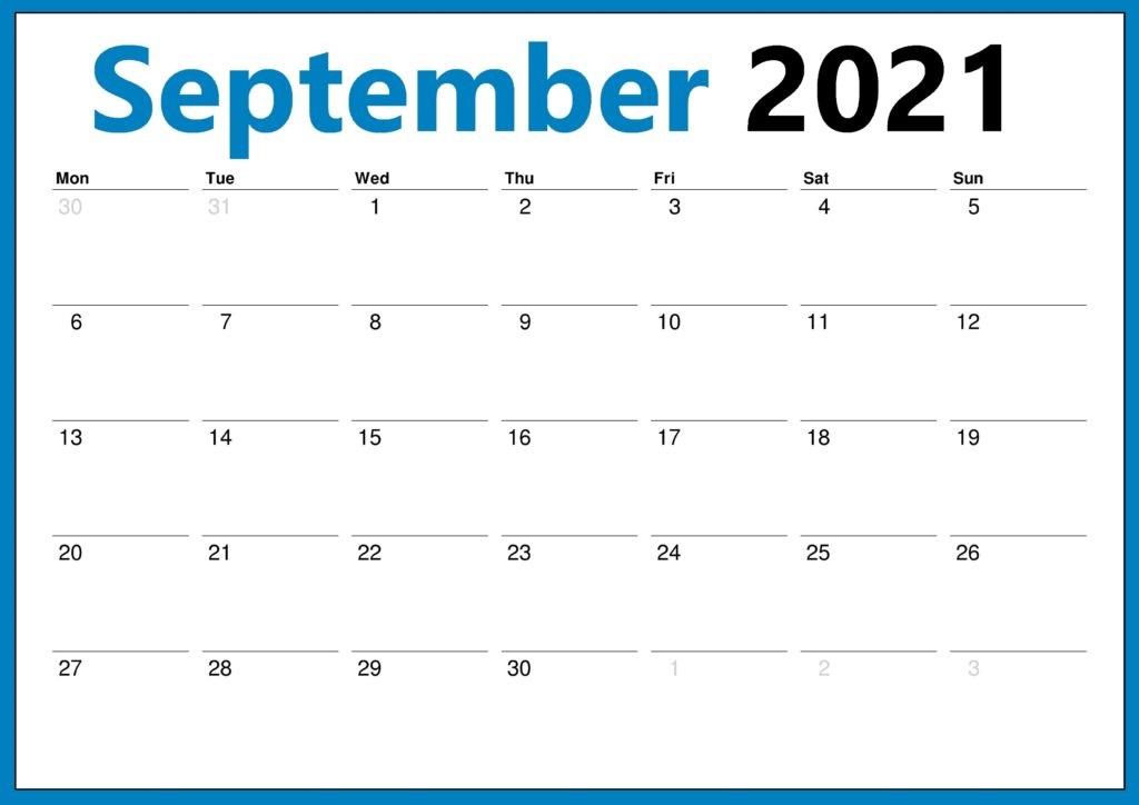 September 2021 Printable Calendar Number