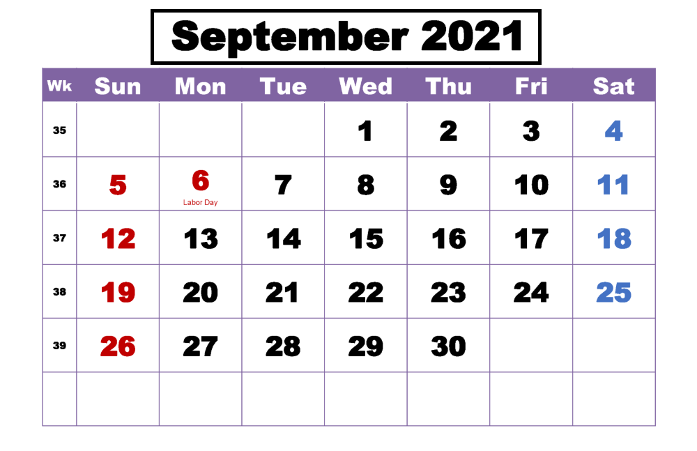 September Calendar 2021 Labour Day